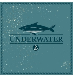 Label underwater fish vector