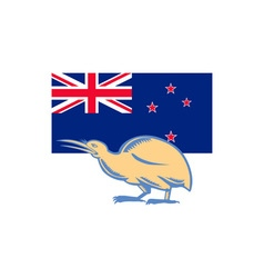 Kiwi bird nz flag woodcut vector