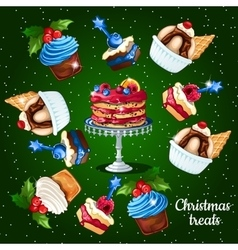 Set of desserts for the christmas time 10 icons vector