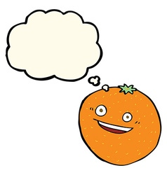 Happy cartoon orange with thought bubble vector