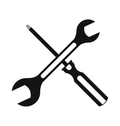 Black screwdriver and spanner flat icon vector
