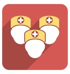 Medical staff flat rounded square icon with long vector