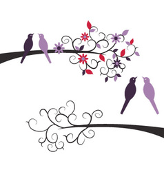 Cute couple birds on branches vector