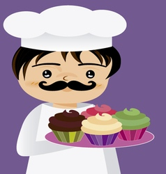 Chef with cupcakes vector