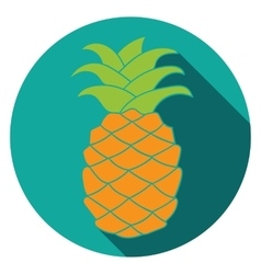 Flat pineapple icon colorful vector
