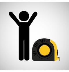 Person and tape measure vector