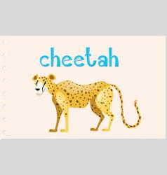 animal wordcard with wild cheetah vector image