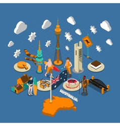 Australian touristic attractions symbols isometric vector