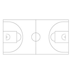 Basketball field outline plan basketball vector
