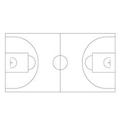 basketball field outline plan basketball vector image vector image