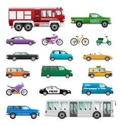 Big set of wheeled transport in flat design vector