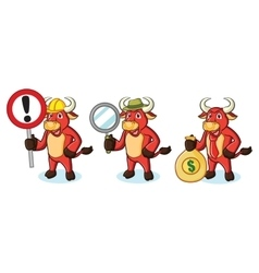 Bull Red Mascot with money vector image vector image