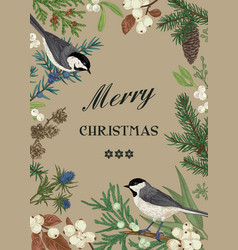 Card with birds and evergreens vector
