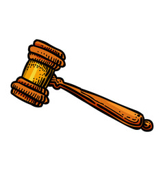 Cartoon image of judge gavel icon law symbol vector