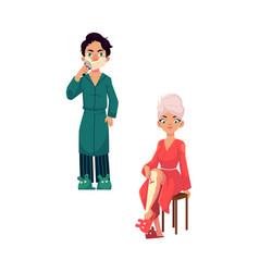 Cartoon people removing hair set vector