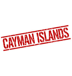 Cayman islands red square stamp vector