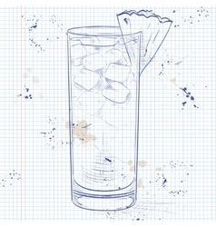 Cocktail barracuda on a notebook page vector