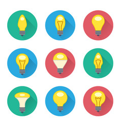 colorful light bulbs flat icons set vector image vector image