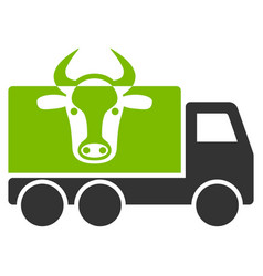 Cow transportation flat icon vector