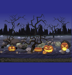 Dark night scary horror halloween background with vector image vector image