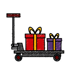 delivery cart boxes cargo logistic icon vector image
