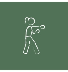 Female boxer icon drawn in chalk vector