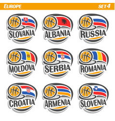 flags of european national basketball teams vector image vector image