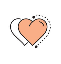 Flat two heart icon dots style vector