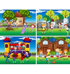 Four scenes of children playing in the park vector image vector image