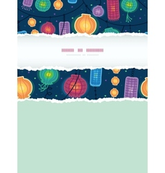 Glowing lanterns vertical torn frame seamless vector image