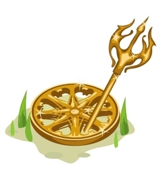 Golden wheel and trident in the grass vector