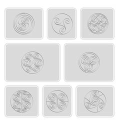 icons with irish geometric ornament vector image vector image