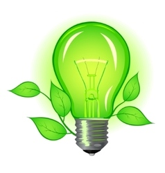 Incandescent lamp with green leaves vector
