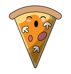 Kawaii tasty pizza slice icon vector