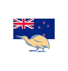 Kiwi bird nz flag woodcut vector