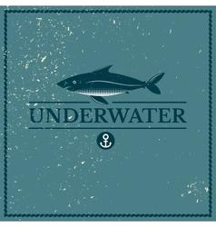 Label underwater fish vector image vector image