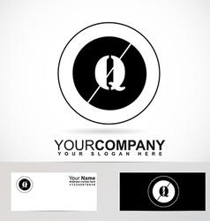 Letter Q logo black and white circle vector image