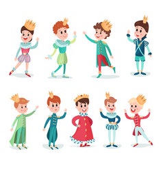 little boys in prince costume with crown cute vector image vector image