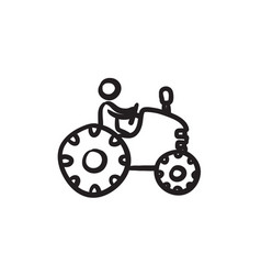 Man driving tractor sketch icon vector