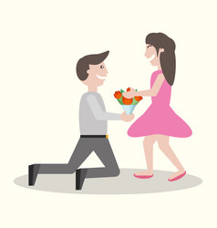 Man kneel gives flowers girl vector