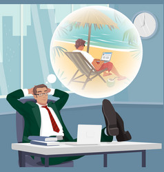 Office worker dreams of working on tropical beach vector