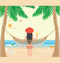 pretty woman relax on the beach cradle after hard vector image vector image