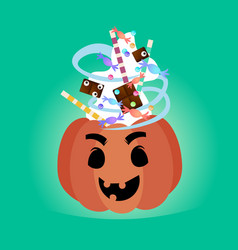 pumpkin with candy sweets treat or trick banner vector image vector image