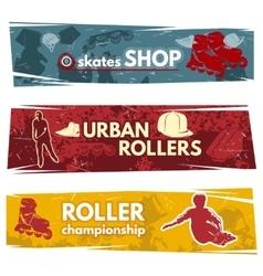 Roller skates horizontal banners vector
