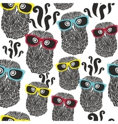 Seamless party pattern with happy owls in vector