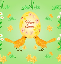 Seamless texture easter eggs and birds spring vector