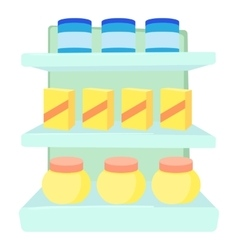 Shop shelves icon cartoon style vector