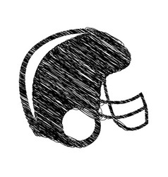 Silhouette drawing american football helmet vector