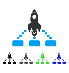 Space rocket collaboration flat icon vector