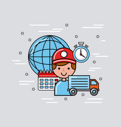 transport global logistic cartoon vector image vector image